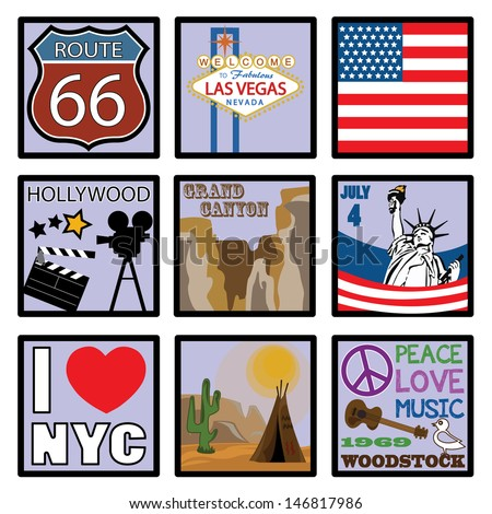 USA. Flat Design Icons - stock vector