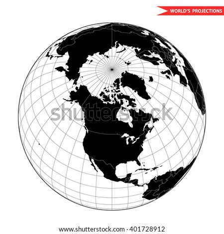 USA globe hemisphere. World view from space icon. - stock vector