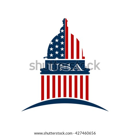 USA government capitol logo . Vector graphic design - stock vector