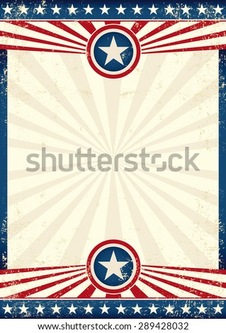 USA grunge star poster. An american background with a texture and sunbeams for you - stock vector