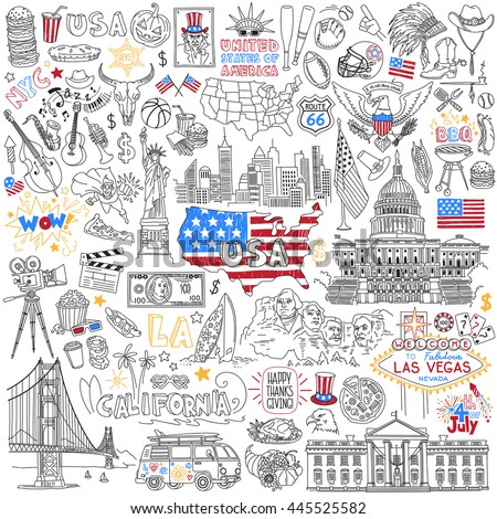 Usa Hand Drawn Outline Vector Set Stock Vector - Hand drawn us map vector
