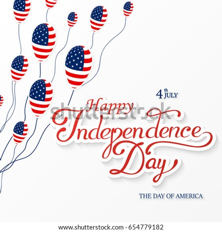 Usa happy independence day lettering greeting stock vector 2018 usa happy independence day lettering greeting card vector illustration with flag balloon star m4hsunfo