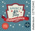 USA Label (independence Day), on vintage background. Vector Illustration - stock photo