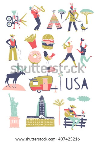 USA. Landmarks and symbols set. Print design - stock vector
