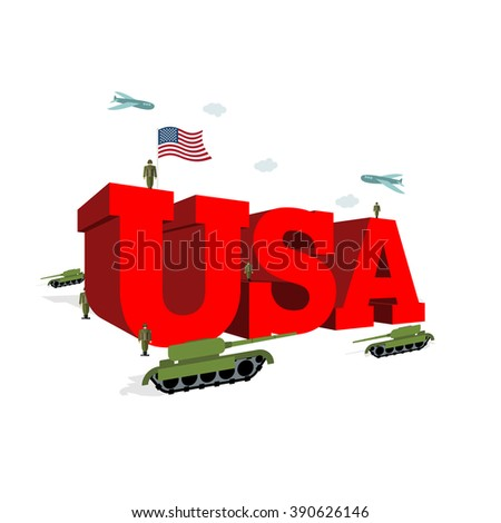 USA letters 3D. Patriotic artwork military in America. Soldiers welcomed give honor. Paper impregnated and soldiers. Planes fly over army. Volumetric letters. Flag of USA. Flag of America - stock vector