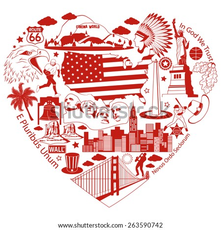 Usa Love Red Heart American Vector Stock Photo Photo Vector