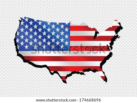 USA map and flag - stock vector
