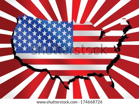 USA map and flag