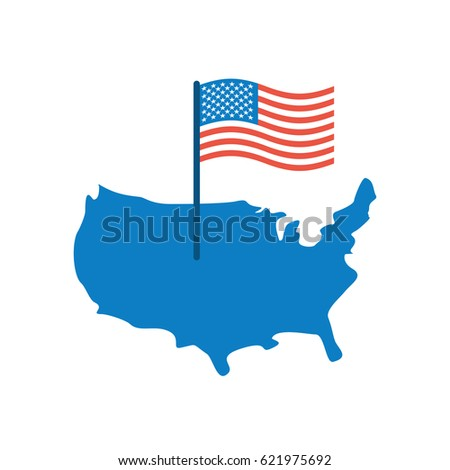 Usa Map And Flag America Banner And Land Area State Patriotic Sign