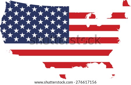 USA map and flag in an abstract background, a conceptual design of United States map covered with the American flag  - stock vector