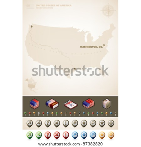 USA Map and North America Maps plus cartography symbols - stock vector