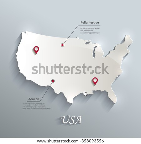 USA map blue white card paper 3D vector - stock vector