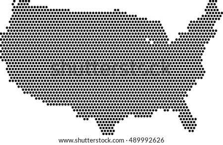 Usa Map Fill With Dots Vector Background
