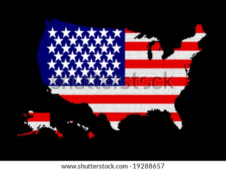 usa map flag - color balls vector illustration