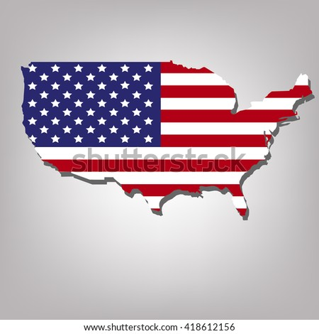 USA Map Flag isolated on grey background with shadow
