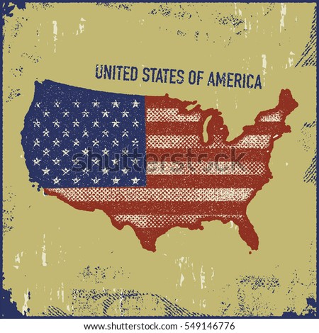 USA map grunge style vector illustration.