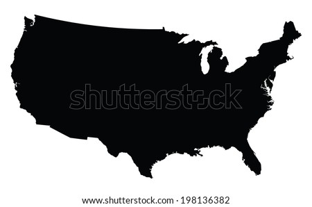 USA map in black - stock vector