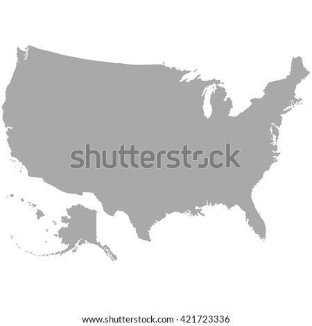 USA map in dark gray on a white background - stock vector
