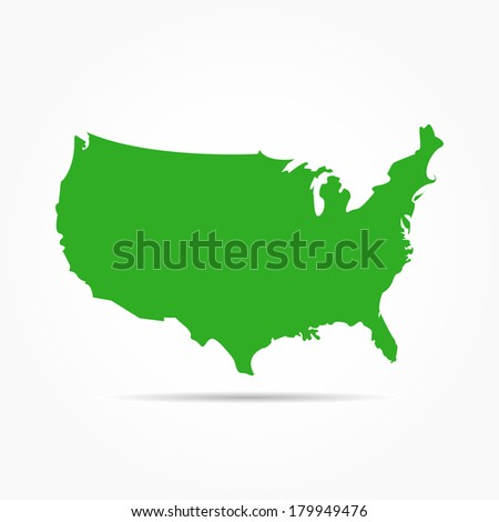 USA Map Isolated on White Background - stock vector