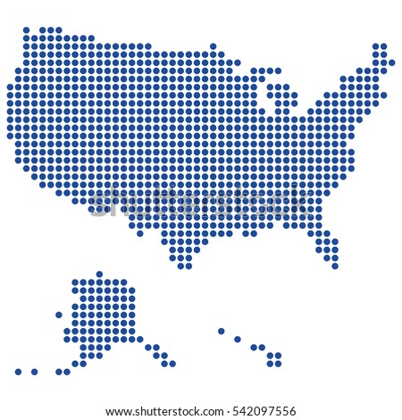 Usa Map Made Of Round Blue Dots Dashes Original Abstract Vector Ilration For Your