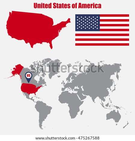Usa Map On World Map Flag Stock Vector Shutterstock - Usa on a world map
