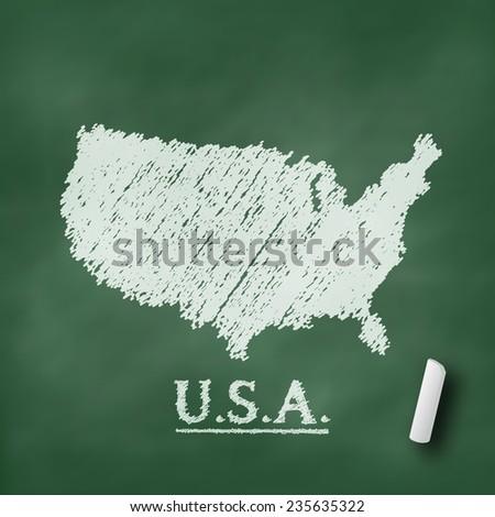 USA map on chalkboard green in vector format - stock vector