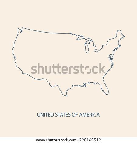 USA map outline vector - stock vector