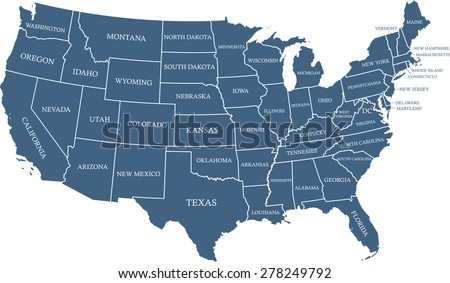 USA map outlines with capital location and name, Washington DC, vector map of United States of America with boundaries or polygons of US states and their names - stock vector