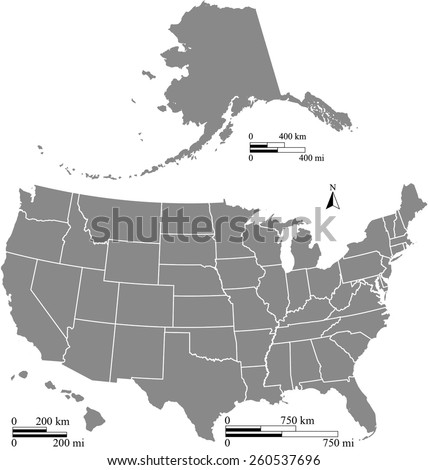 USA map outlines with kilometer and mileage scales, vector map of United States of America in grey color with boundaries or polygons of US states, map reference: http://nationalmap.gov/ - stock vector