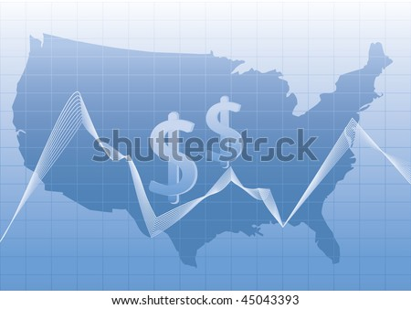 USA map stylized with dollar sign.All elements in separate layer and easily editable. - stock vector