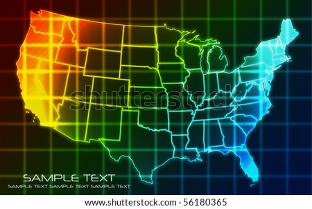 USA Map - Technology Background - stock vector