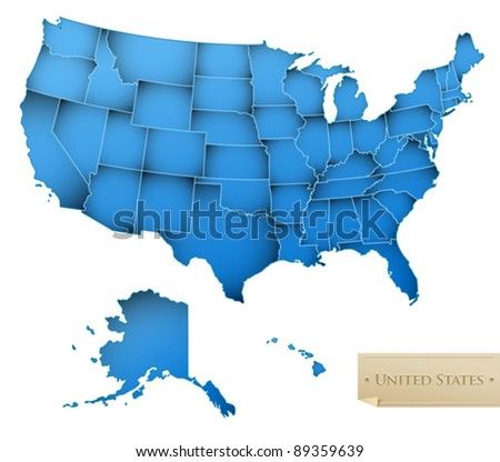 USA map - United States of America with all 50 states - blue color - isolated on white - Vector - stock vector