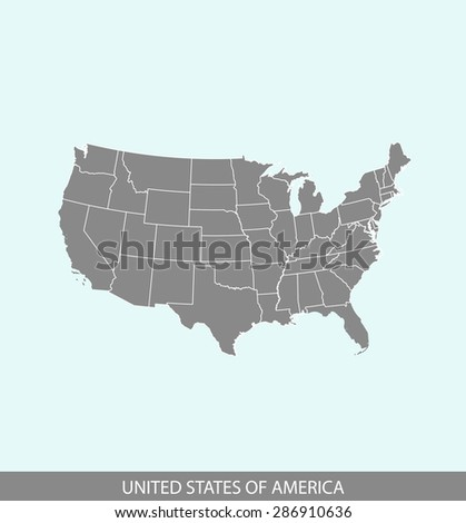 USA map vector, United States map outlines in a contrasted background for brochure design and publication uses - stock vector