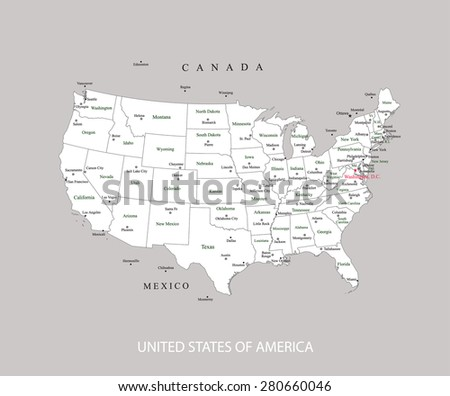 USA map vector with names of states, capitals, and main cities, United States map outlines in a grey background - stock vector