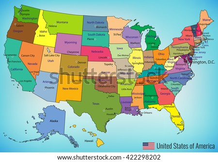Vector Map United States America Full Stock Vector - Map the united states of america