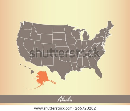 USA map with highlighted state of Alaska, on an old paper background - stock vector