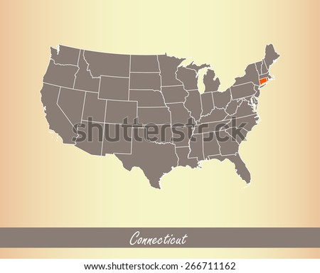 USA map with highlighted state of Connecticut, on an old paper background - stock vector