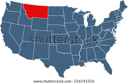 USA map with highlighted state of Montana - stock vector