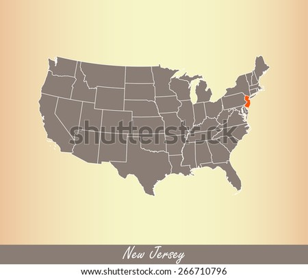 USA map with highlighted state of New Jersey, on an old paper background - stock vector
