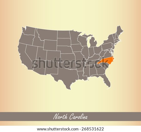 USA map with highlighted state of North Carolina, on an old paper background - stock vector