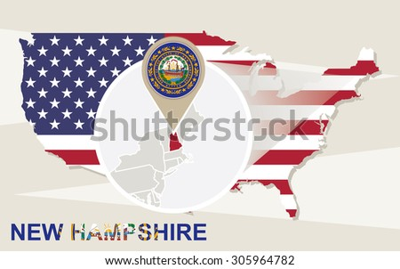 Usa Map Magnified New Hampshire State Stock Vector - New hampshire on the map of usa