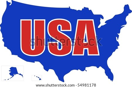 USA MAP with red and white letters - stock vector