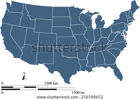 USA map with scale, map reference: http://nationalmap.gov - stock vector