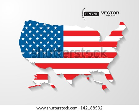 USA map with shadow effect - stock vector