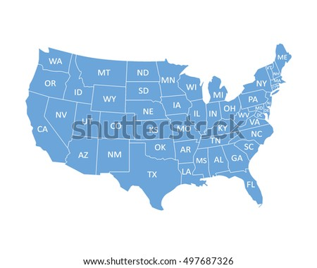 Map Usa State Abbreviations Stock Vector Shutterstock - Map of us with abriviation in them