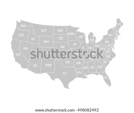 Usa Map States Stock Vector 437166751 Shutterstock