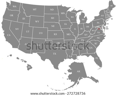 USA map with states names and capital's location and name, Washington DC, map of United States of America in grey color - stock vector