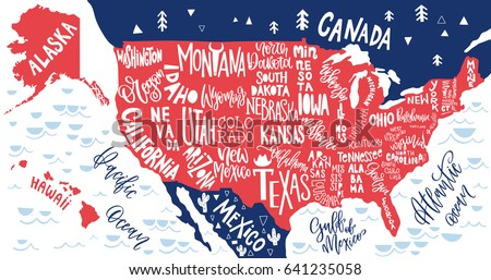 Usa Map States Pictorial Geographical Poster Stock Vector - Usa map design