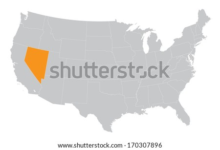 USA map with the indication of State of Nevada - stock vector