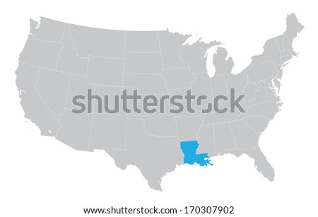USA map with the indication of the State of Louisiana - stock vector